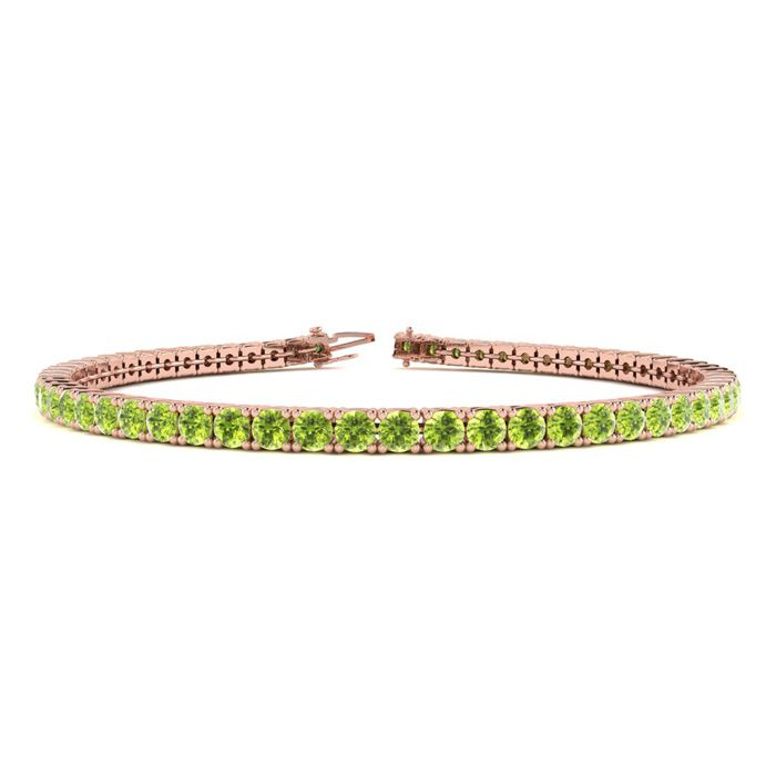 4 1/4 Carat Peridot Tennis Bracelet in 14K Rose Gold (8.1 g), 6 I