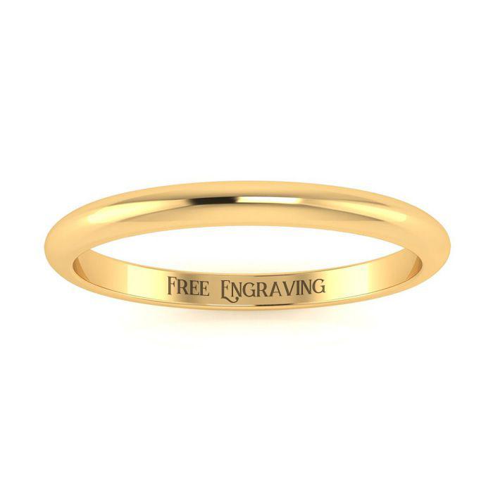 14K Yellow Gold (1.5 g) 2MM Ladies & Mens Wedding Band, Size 6, F
