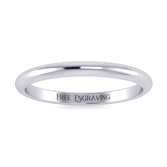 Platinum 2MM Ladies & Mens Wedding Band, Size 10, Free Engraving