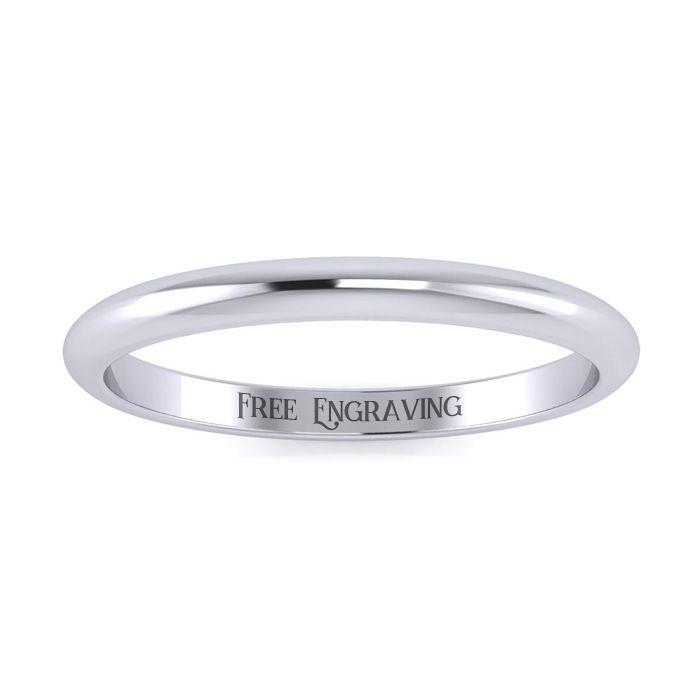 Platinum 2MM Ladies & Mens Wedding Band, Size 17, Free Engraving