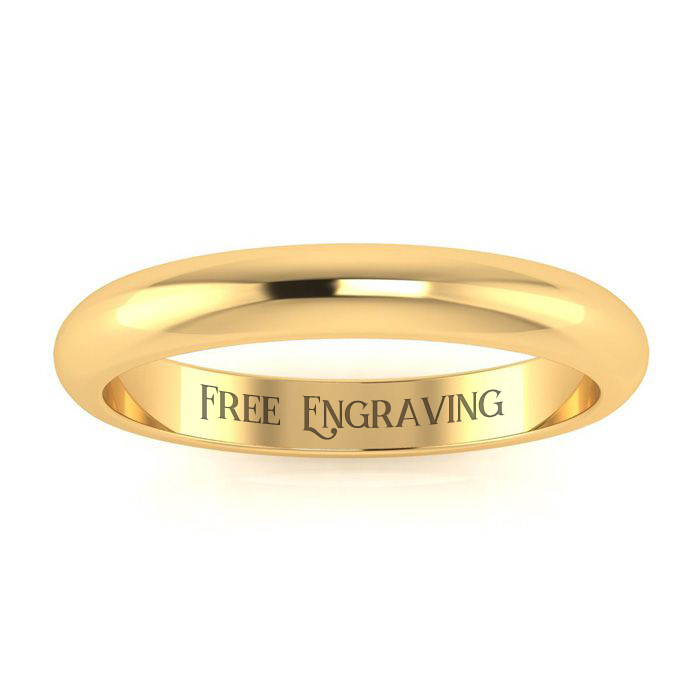 14K Yellow Gold 3MM Ladies and Mens Wedding Band, Size 15.5, Free Engraving