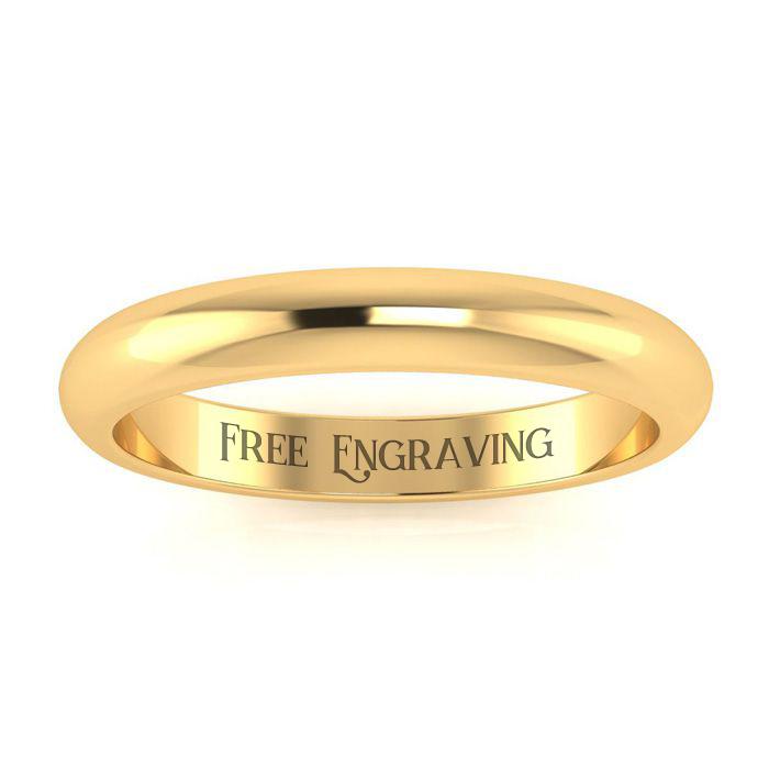18K Yellow Gold (2.5 g) 3MM Ladies & Mens Wedding Band, Size 6, Free Engraving by SuperJeweler