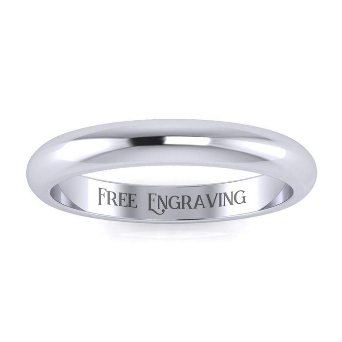Platinum 3MM Ladies & Mens Wedding Band, Size 10, Free Engraving
