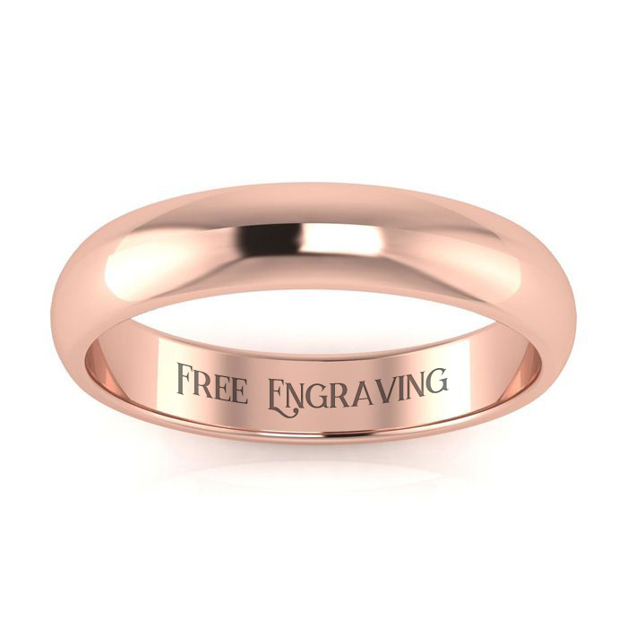 14K Rose Gold (3.4 g) 4MM Ladies & Mens Wedding Band, Size 10.5,