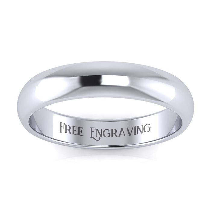 Platinum 4MM Ladies & Mens Wedding Band, Size 8.5, Free Engraving