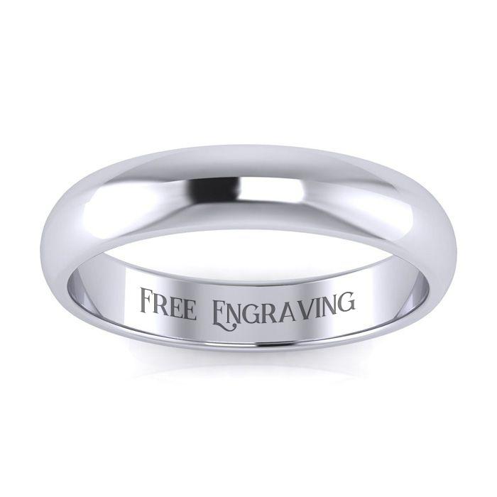 Platinum 4MM Ladies & Mens Wedding Band, Size 10, Free Engraving