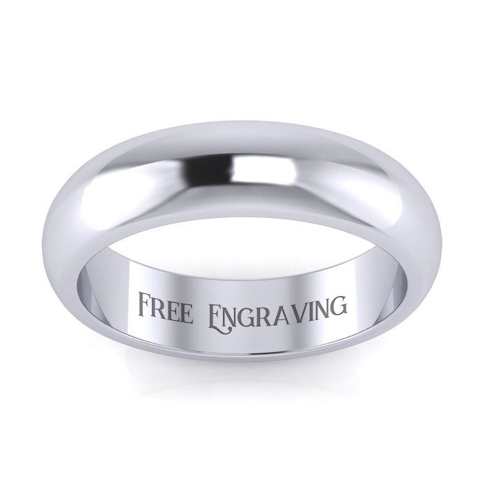 14K White Gold 5MM Ladies and Mens Wedding Band, Size 6.5, Free Engraving