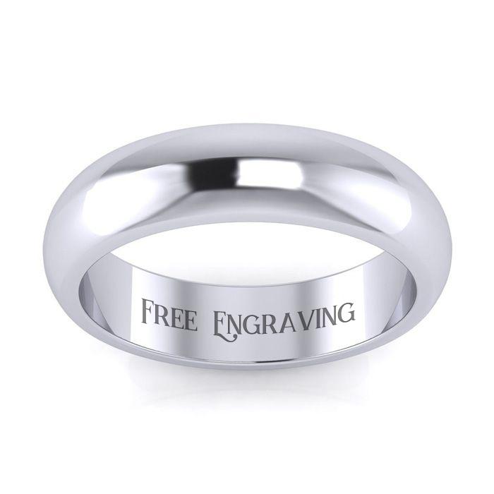 Platinum 5MM Ladies & Mens Wedding Band, Size 10, Free Engraving