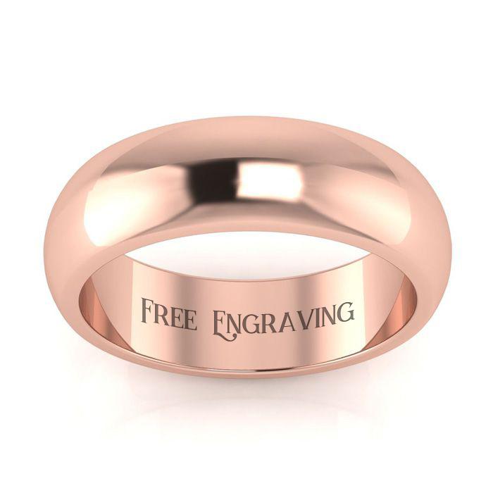 14K Rose Gold (6 g) 6MM Ladies & Mens Wedding Band, Size 15, Free