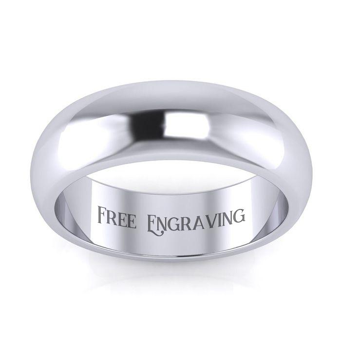 Platinum 6MM Ladies & Mens Wedding Band, Size 10, Free Engraving
