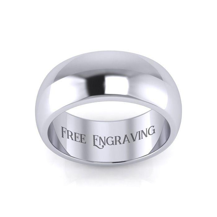 Platinum 8MM Ladies & Mens Wedding Band, Size 4, Free Engraving b