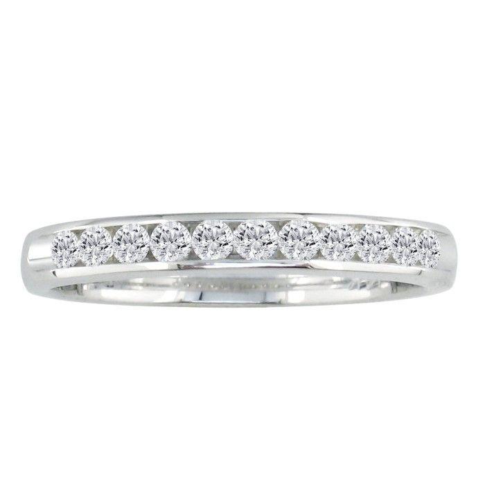 The Perfect 1 Carat Diamond Wedding Band in 14k White Gold, G/H b