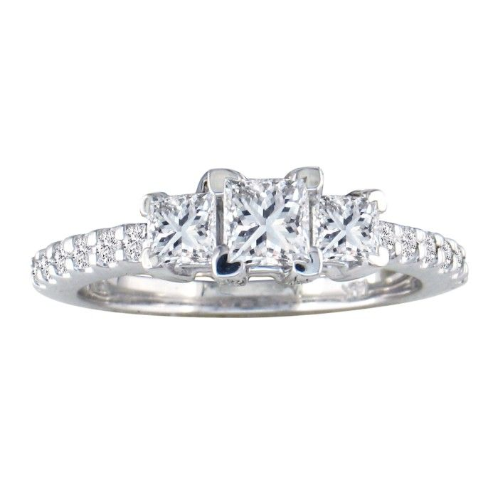 1ct Princess Cut Three Diamond Engagement Ring in 14k White Gold. H/I, SI2