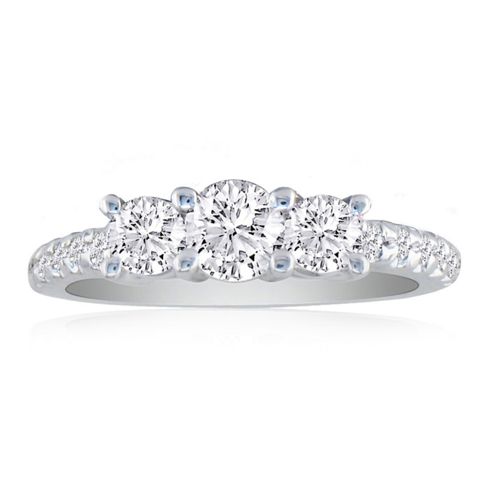 1ct Round Brilliant Cut Three Diamond Engagement