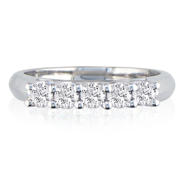 1 Carat Lucida Five Diamond Wedding Band in 14k White Gold, G/H b