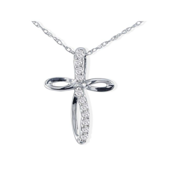 Image of .12ct Cross Style Journey Diamond Pendant in 10k White Gold