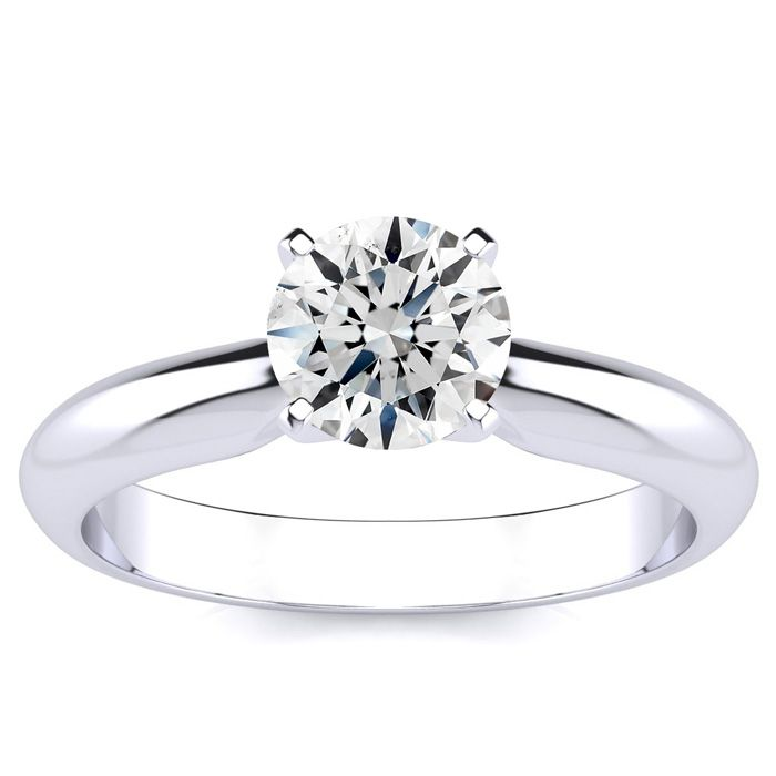 1 Carat Round Diamond Solitaire Ring in 14k White Gold (G-H, SI1-