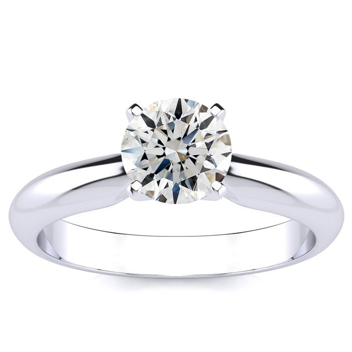 1 Carat Round Diamond Solitaire Ring in 14k White Gold (I-J, SI3)