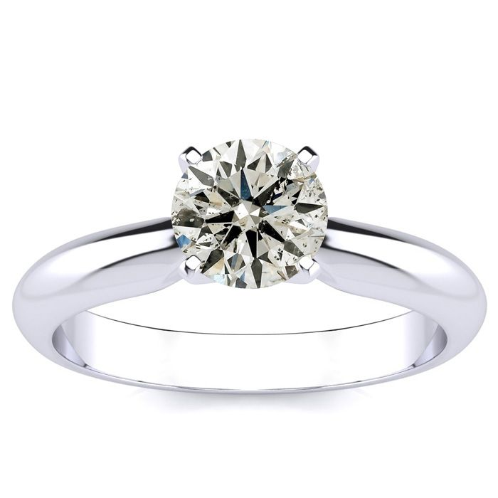 1 Carat Round Diamond Solitaire Ring in 14k White Gold (H-I, SI2-