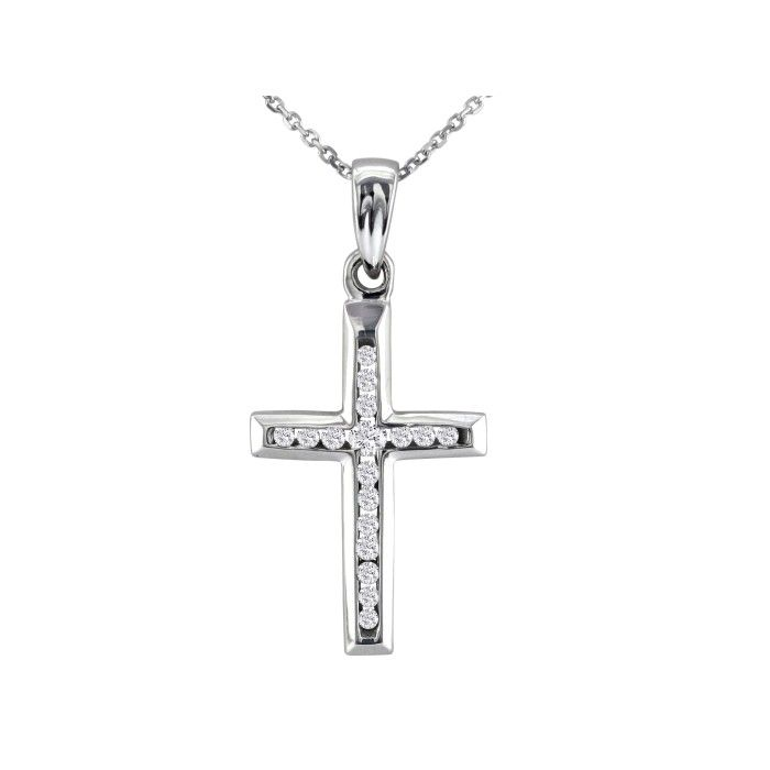 1/8 Carat Diamond Cross Pendant Necklace in 10k White Gold, J/K,