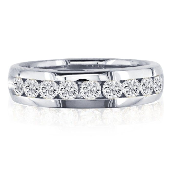1/4 Carat Round Diamond Wedding Band in 14k White Gold, I/J by Su