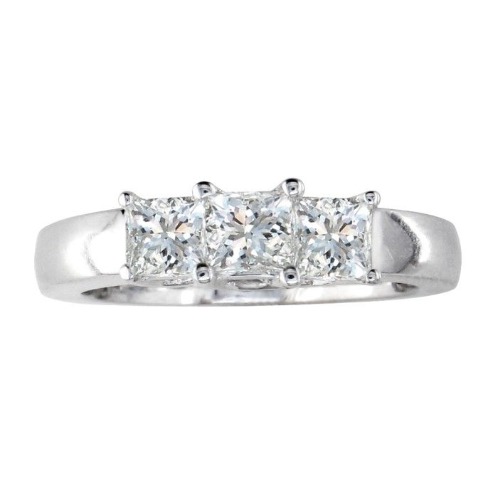 3/4 Carat Princess Cut Three Diamond Engagement Ring in 14k White