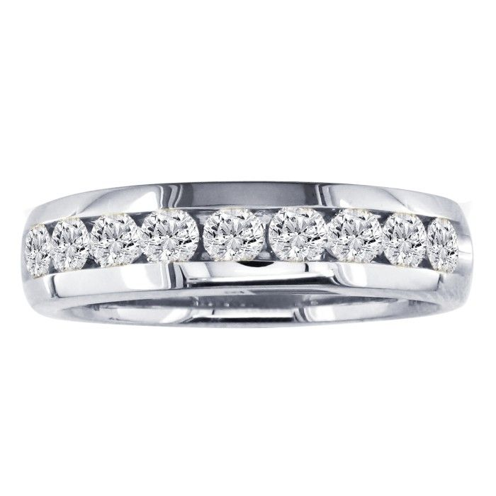 3/4 Carat Round 11 Diamond Wedding Band in 14k White Gold, I/J by