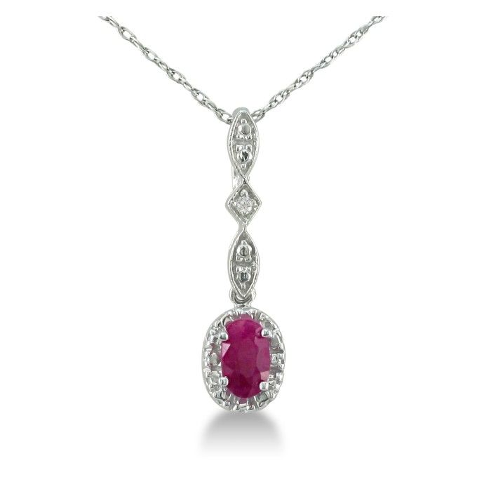 Dangle Style Ruby & Diamond Pendant Necklace in Sterling Silver,