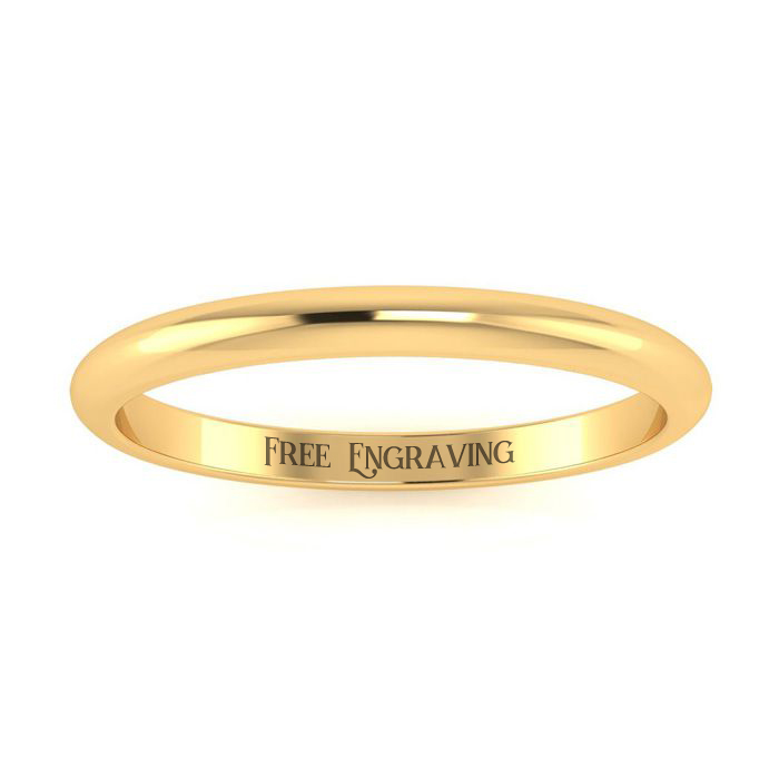 14K Yellow Gold 2MM Heavy Ladies and Mens Wedding Band, Size 11, Free Engraving