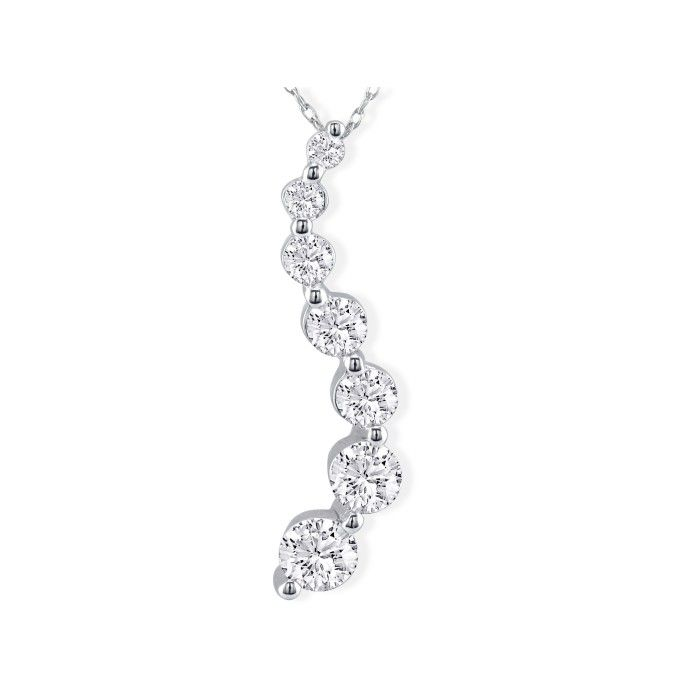 18k Curve Style 1.5 Carat 7 Diamond Journey Pendant Necklace in 1