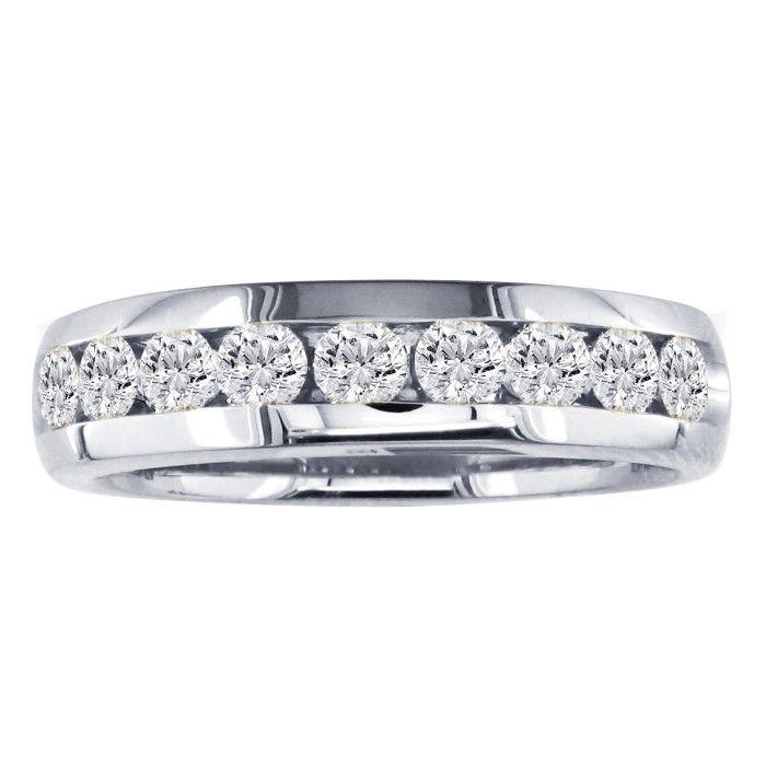 1 Carat Round Diamond Wedding Band in 14k White Gold, I/J by SuperJeweler