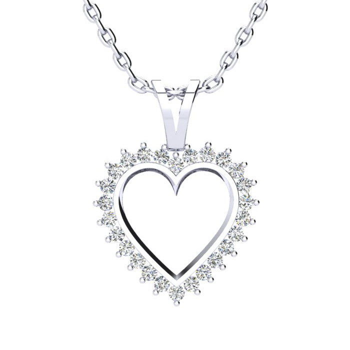 1/2 Carat Perfect Diamond Heart Pendant Necklace in White Gold, J