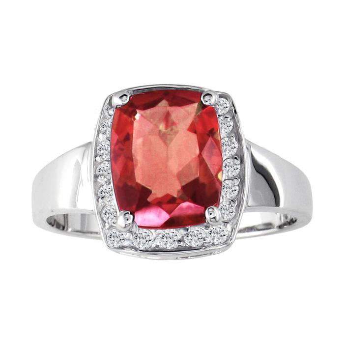 1 3/4ct Cushion Cut Garnet and 1/5ct Diamond Ring
