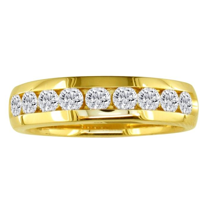 Image of 1ct Round Diamond Band in 14k Yellow Gold