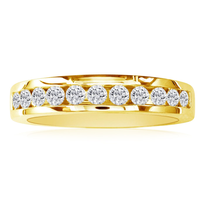 1/2 Carat Round Diamond Wedding Band in 10k Yellow Gold, J/K by S