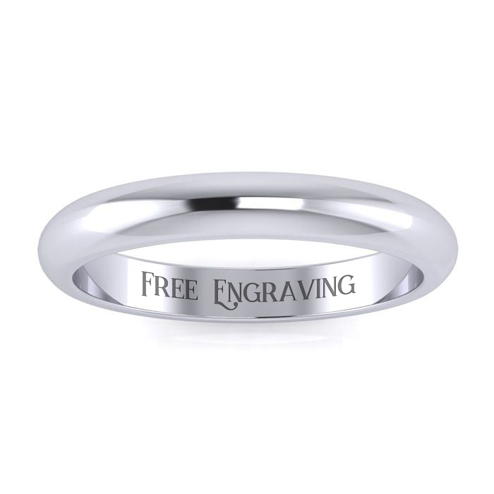 Platinum 3MM Heavy Ladies & Mens Wedding Band, Size 4, Free Engra