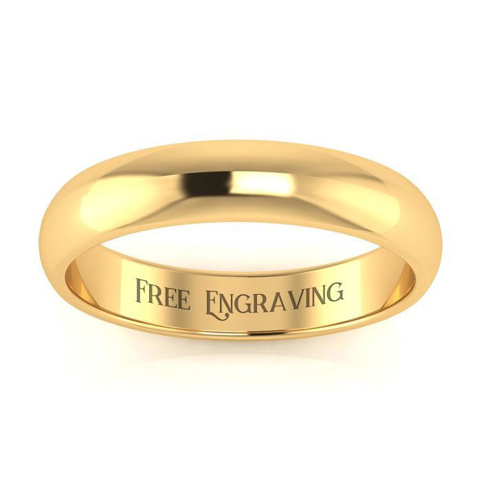 10K Yellow Gold 4MM Heavy Ladies and Mens Wedding Band, Size 16, Free Engraving