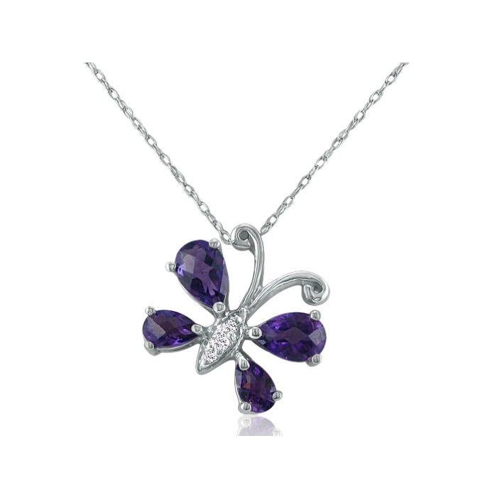 1.5 Carat Diamond & Amethyst Butterfly Pendant Necklace in 14k Wh