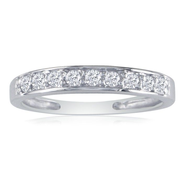 1/4 Carat Diamond Wedding Band in 10k White Gold, J/K by SuperJew