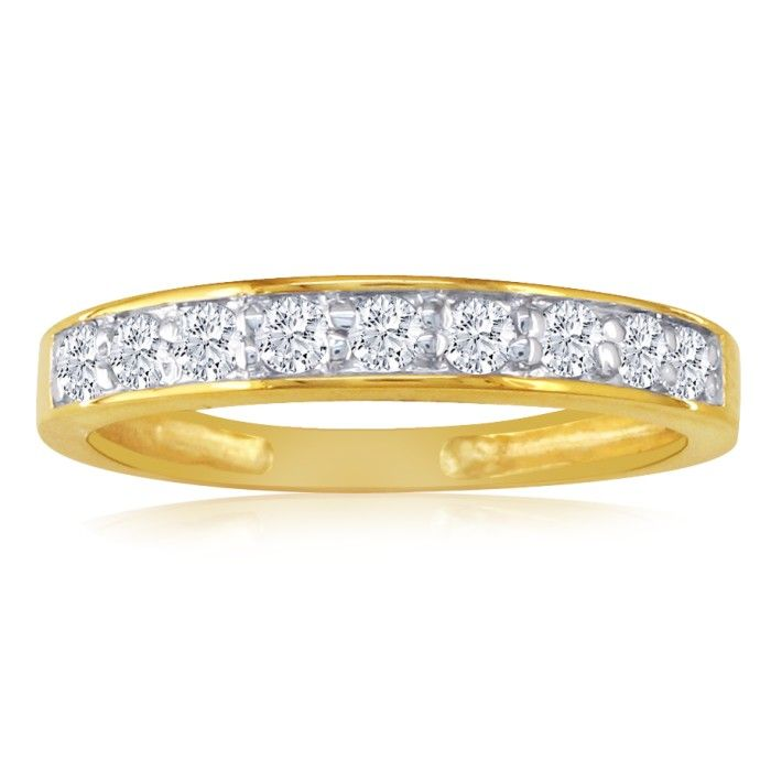1/4 Carat Diamond Wedding Band in 10k Yellow Gold, J/K by SuperJe