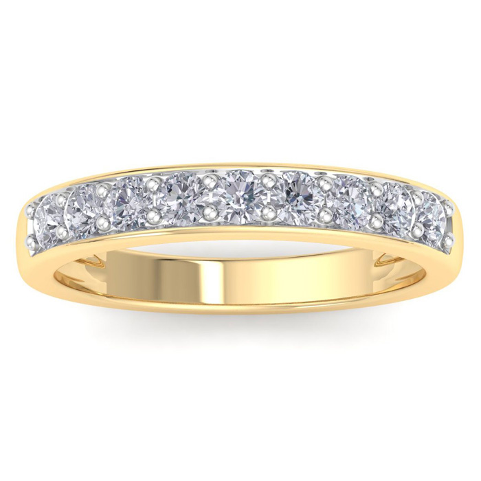 1/2 Carat Prong Set Diamond Wedding Band in 10k Yellow Gold, 9 Di