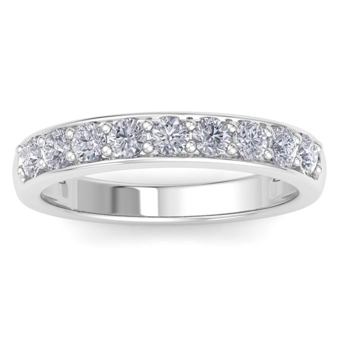 2/3 Carat Diamond Wedding Band in White Gold (2.5 Grams), Natural