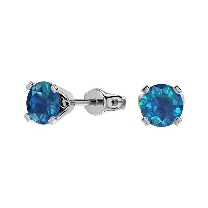 1/2 Carat Blue Diamond Stud Earrings in 14k White Gold by Hansa