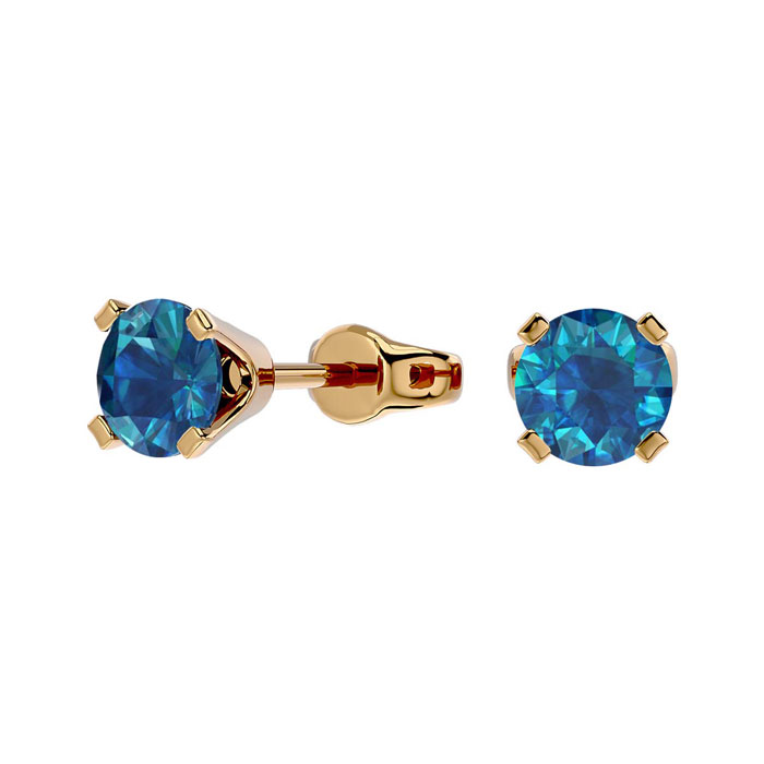 1/2 Carat Blue Diamond Stud Earring in 14k Yellow Gold by Hansa