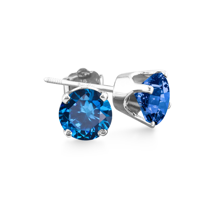 1.5 Carat Blue Diamond Stud Earrings in 14k White Gold by SuperJe