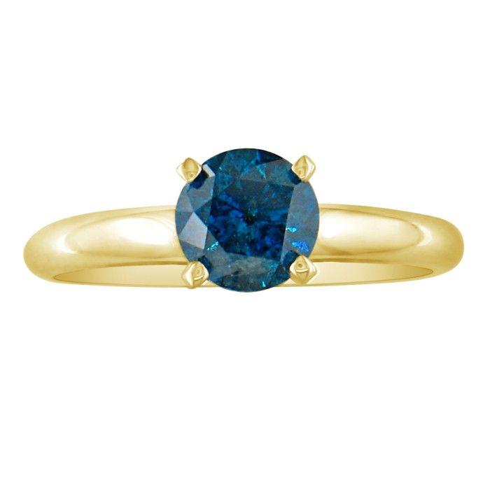 3/4 Carat Blue Diamond Solitaire Ring in 14k Yellow Gold by Hansa