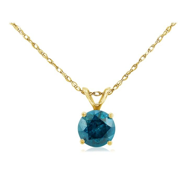 1/8 Carat Blue Diamond Pendant Necklace in 14k Yellow Gold, 18 In