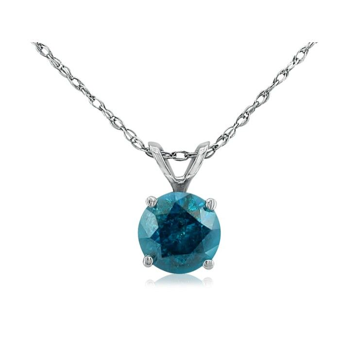 1/4 Carat Blue Diamond Pendant Necklace in 14k White Gold, 18 Inc
