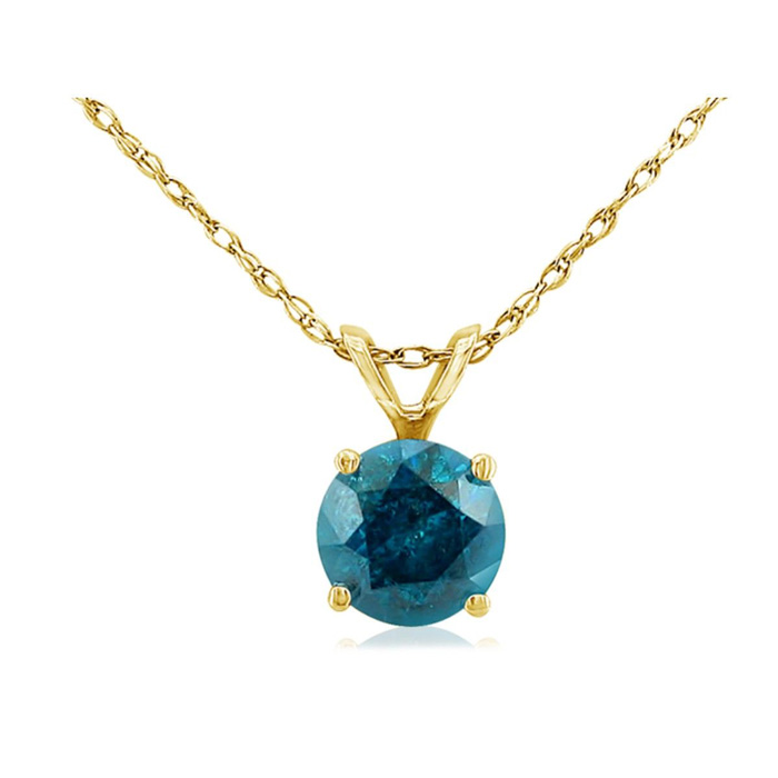 1/4 Carat Blue Diamond Pendant Necklace in 14k Yellow Gold, 18 In