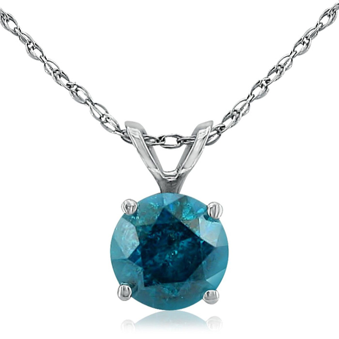 1 Carat Blue Diamond Pendant Necklace in 14k White Gold, 18 Inch